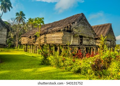 Photo of large house made of straw surrounded by greenery in Avatip, Sepik river in Papua New Guinea. In this region, one can only meet people from isolated local tribes.