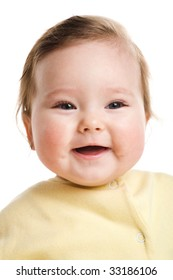 A photo of a laughing baby, isolated on white