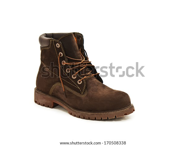 Photo of leather man's boot. Isolated on white background