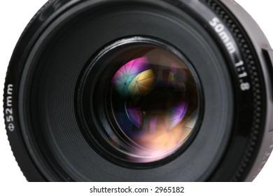 photo lense with umbrella reflection