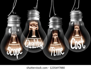 Photo of light bulb group with shining fibers in SCOPE, QUALITY, TIME and COST shape isolated on black background
