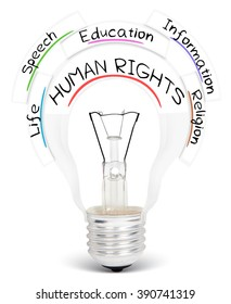Photo of light bulb with HUMAN RIGHTS conceptual words isolated on white
