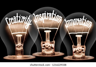 Photo of light bulb with shining fibre in CREATIVITY, INSPIRATION, INNOVATION shape on black background