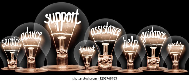 Photo of light bulbs group with shining fibers in a shape of SUPPORT concept related words isolated on black background