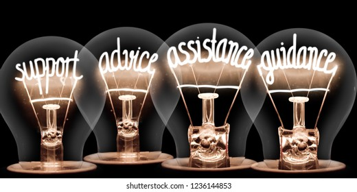 Photo of light bulbs group with shining fibers in a shape of SUPPORT, ADVICE, ASSISTANCE, GUIDANCE concept words isolated on black background