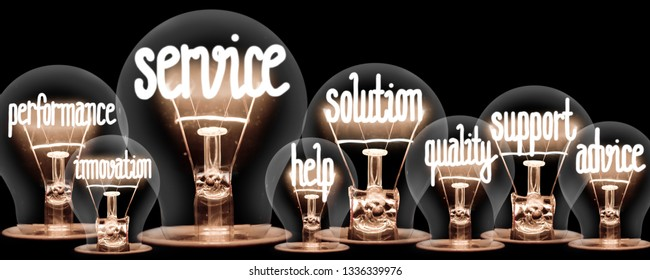 Photo of light bulbs group with shining fibers in a shape of Service, Solution, Support and Help concept related words isolated on black background
