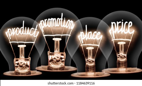 Photo of light bulbs with shining fibers in shapes of 4P MARKETING MIX concept words isolated on black background