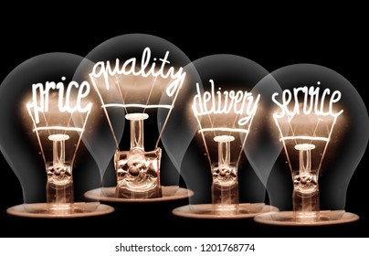 Photo of light bulbs with shining fibers in PRICE, QUALITY, DELIVERY and SERVICE shape on black background