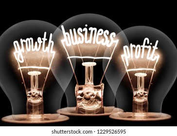 Photo of light bulbs with shining fibers in GROWTH, BUSINESS, PROFIT shape isolated on black background
