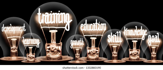 Photo of light bulbs with shining fibers in a shape of TRAINING and EDUCATION concept related words isolated on black background