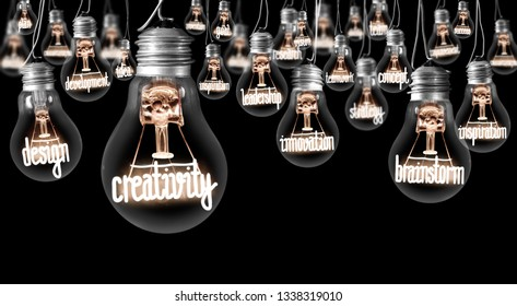 Photo of light bulbs with shining fibers in a shape of Creativity, Brainstorm and Innovation concept related words isolated on black background