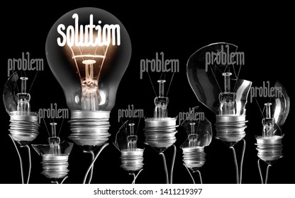 Photo of light bulbs with shining fibers in a shape of PROBLEM and SOLUTION concept isolated on black background