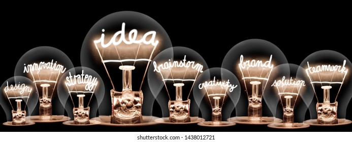 Photo of light bulbs with shining fibers in a shape of Idea, Brand, Brainstorm, Innovation and Teamwork concept related words isolated on black background