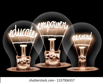 Photo of light bulbs with shining fibres in EDUCATE, EMPOWER and REWARD shape on black background