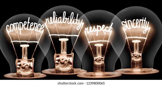 Photo of light bulbs with shining fibres in COMPETENCE, RELIABILITY, RESPECT, SINCERITY shape isolated on black background