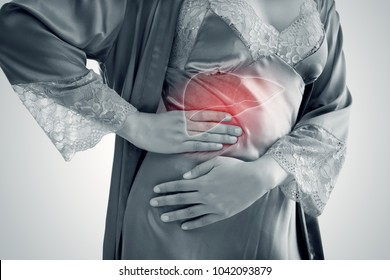 The Photo Of Liver On Woman's Body Against Gray Background, Hepatitis, Concept with Healthcare And Medicine
