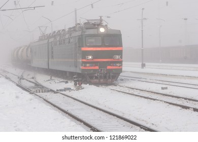 photo of locomotive at cold winter time. Russian Federation, Siberia