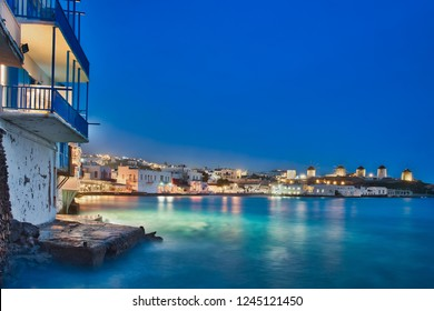 Photo of the long exposure at the mykonos island at blue hour time