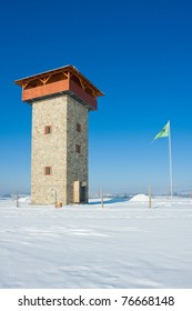 Photo of lookout tower installation in snow day