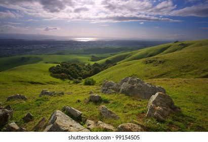 A photo a lush meadow and the East Bay Area of California from the foothills of the Diablo range, on a green, sunny spring day