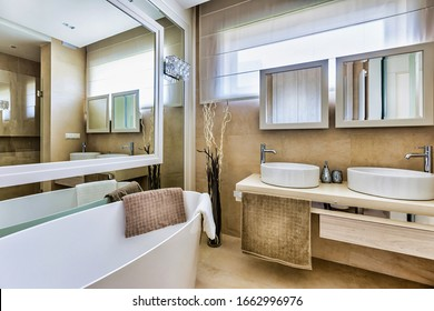 Photo of luxurious bathroom in apartment