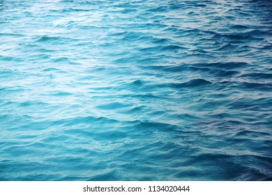Photo of a macro background of blue sea waves