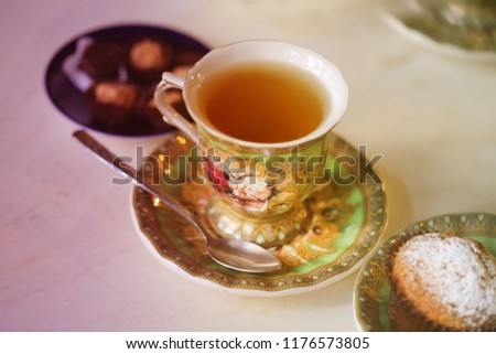 Photo of a macro of delicious herbal tea in a restaurant