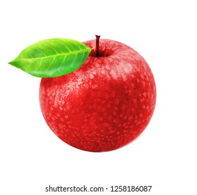 Photo of macro isolated red apple with leaf on white background