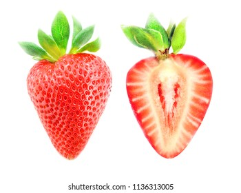Photo of a macro of a tasty red strawberry and a cut of strawberries on a white background