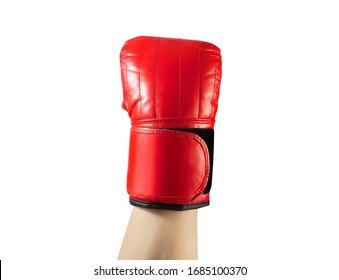 Photo of male hand in red boxing glove isolated on white background.