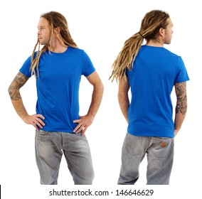 Photo of a male in his early thirties with long dreadlocks and posing with a blank blue shirt.  Front and back views ready for your artwork or designs.