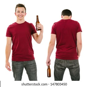 Photo of a male in his late teens posing with a blank burgundy shirt and holding a beer bottle.  Front and back views ready for your artwork or designs.