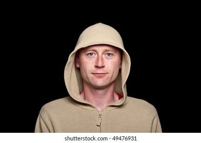 photo male in a hoodie funky clothes on black