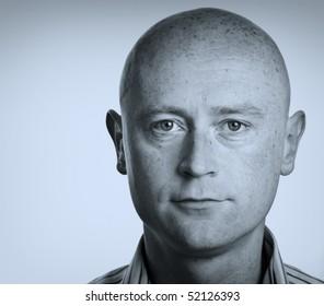 photo male portrait close up on white backdrop
