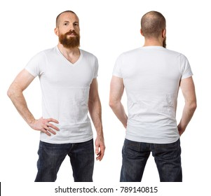 Photo of a man with a beard and wearing a blank white t-shirt, front and back. Ready for your design or artwork.
