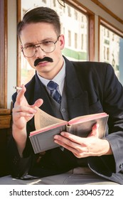 photo of man with glasses and whiskers  in suit sitting in an old wooden wagon train and smoking cigar while reading book , retro vintage fashion style