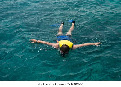 Photo of the man snorkeling in Red sea, Egypt