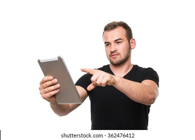 A photo of man using a tablet