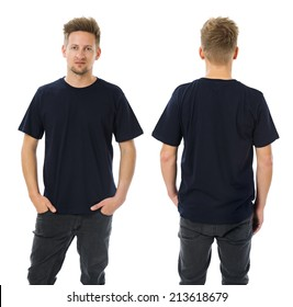 Photo of a man wearing blank dark blue t-shirt, front and back. Ready for your design or artwork.