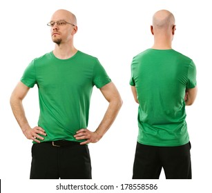 Photo of a man wearing blank green t-shirt, front and back. Ready for your design or artwork.