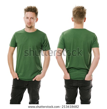4cd2a4f6 Photo of a man wearing blank green t-shirt, front and back. Ready