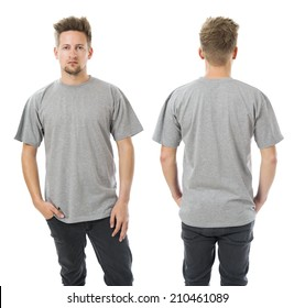 Photo of a man wearing blank grey t-shirt, front and back. Ready for your design or artwork.