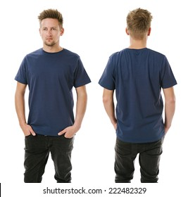 Photo of a man wearing blank navy blue t-shirt, front and back. Ready for your design or artwork.