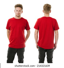 Photo of a man wearing blank red t-shirt, front and back. Ready for your design or artwork.