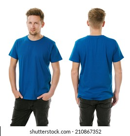 Photo of a man wearing blank royal blue t-shirt, front and back. Ready for your design or artwork.