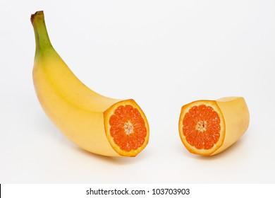 Photo manipulation:  banana with orange content