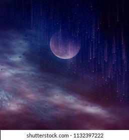 Photo Manipulation. Beautiful colorful skyscape with many stars and meteor shower. Landscape of blue sky with super moon and cloudy. Serenity nature background. The moon taken with my camera.