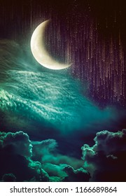 Photo Manipulation. Beautiful colorful skyscape with many stars and meteor shower. Landscape of night sky with crescent and cloudy. Serenity nature background.