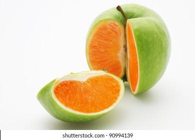 Photo manipulation:  green apple with orange content