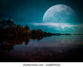 Photo Manipulation. Landscape of night sky with many stars. Beautiful super moon behind partial cloudy above silhouettes of trees, lake area. Serenity nature background. The moon taken with my camera.